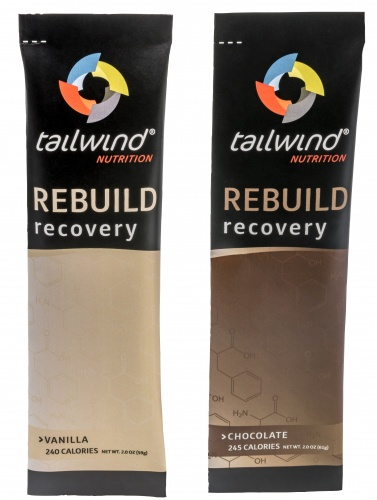 Tailwind's rebuild recovery bottles - one vanilla flavour and one chocolate flavour